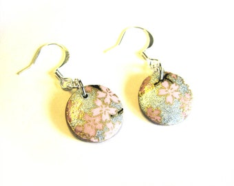 Pink and Silver Earrings Round wood disk dangle washi earrings Light Pink Flowers