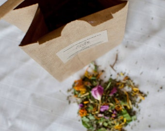 Women's Wellness Organic Herbal Tea | loose leaf, self care for women, moon time tea, healthy reproductive system, organic herbs and flowers