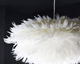 Feather lamp shade oval 40cm white