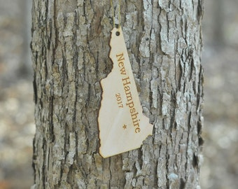 Natural Wood New Hampshire State Ornament WITH 2017