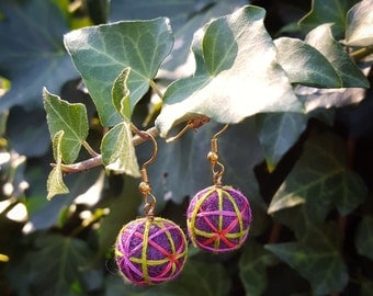 Needle-felted and Hand-Embroidered Earrings