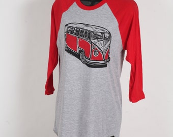 Ready to Ship!!!! American Apparel Red And Heather Grey 3/4 Sleeve Shirt WIth VW Van