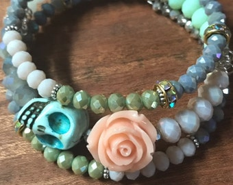 Day of the Dead Boho Sugar Skull Bracelet Memory Wire Bracelet