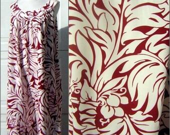 XXXL 3X Vintage Hawaiian MuuMuu Tropical BOTANICAL Print - Roomy Yoked Bodice RAYON Bishop St.