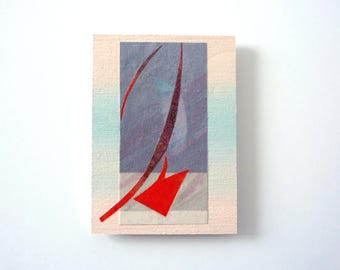 Striking mini artwork, abstract original mixed media ACEO, cut-out-art, pastel colors