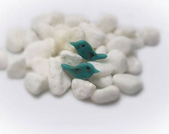 Fetish Bird Beads Zuni Bird Beads Bird Charm 2 pcs Bird Beads Polymer Clay Bird Beads Handmade Clay Beads - 16104