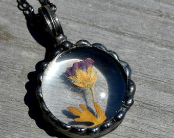 Nature Gift, Real Dry Pressed Flower Pendant, Flower Jewelry, Mexican Heather, Made by Hand, Simple Necklace, Charming Jewelry (2745)