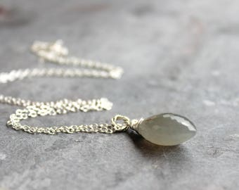 Moonstone Necklace Sterling Silver Gray Pointed Gemstone Pendant Necklace, Gray Moonstone