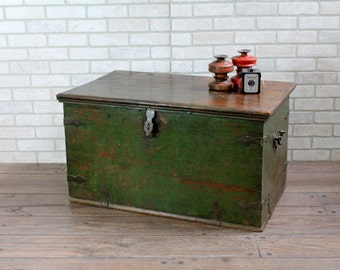 Vintage Green Trunk Table Storage Chest Side Table Box Small Trunk Global Industrial Storage
