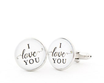 I Love You, Husband Gift, Long Distance Boyfriend Gift, Love Cufflinks, Love Gift for Him, Husband Anniversary Gift, Cufflinks for Men