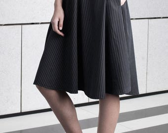 Black midi skirt, full circle, prom Skirt, strieps high waist skirt, day to night, summer skirt, short black skirt, party wear, minimal