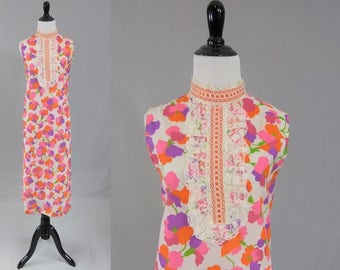 60s Floral Maxi Dress - Bright Print - Lace Ruffle Detail - High Collar - Vintage 1960s - M