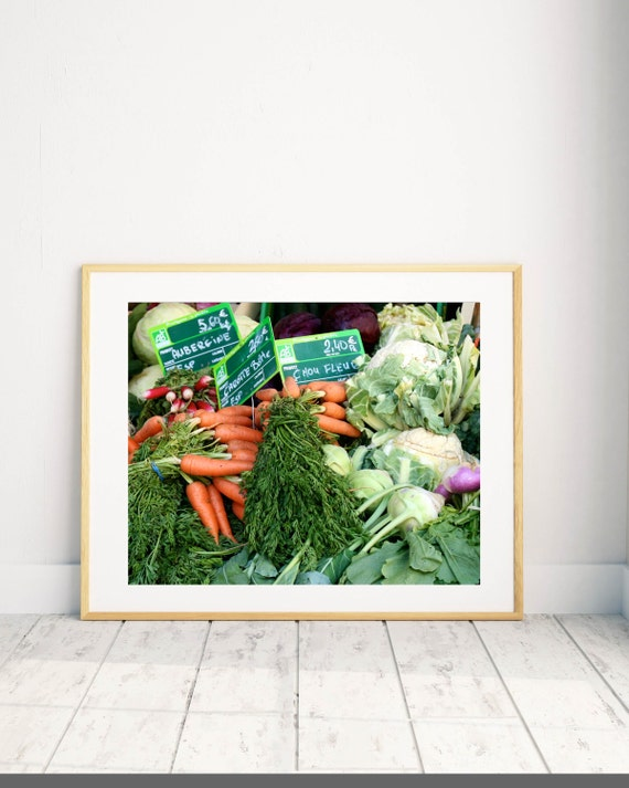 ... Paris Market Photography   French Country Decor   Farmers Market  Photograph Carrot Print   Kitchen Decor