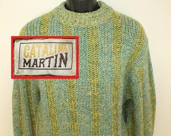 Catalina Martin vintage sweater Medium heavy yellow green blue 60s