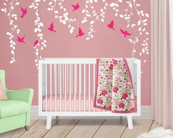 Elegant Vine Wall Decal For Baby Girl Nursery Décor   Wall Vines Nursery Decals  Large Tree Wall Part 21