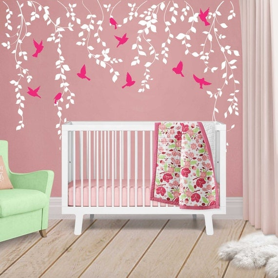 Wall Decor Baby Girl : Vine wall decal for baby girl nursery d?cor vines