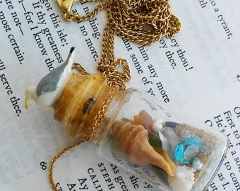 Beach Bottle Seagull Bird Ocean Jewelry necklace