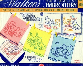 Embroidery Transfers WALKER'S No. 705 KITTENS & SCOTTIES Original Not Reproduction
