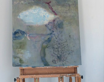 Extra large abstract painting modern wall art living room art original abstract canvas art blue gray wall art abstract art /My Anemone