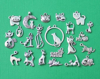 Deluxe Cat Charm Collection Antique Silver Tone 22 Different Charms - COL033