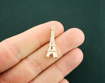 8 Eiffel Tower Charms Gold Tone 3D - GC1149