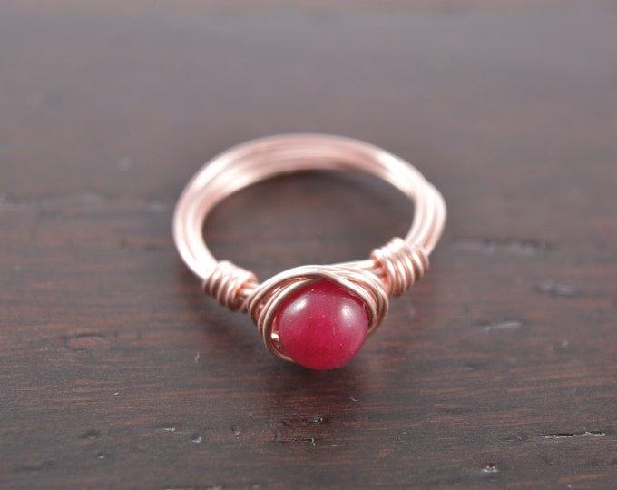 Ruby Wire Wrapped Ring