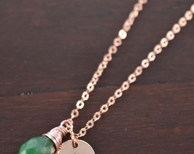 Emerald Briolette Necklace, May Birthstone, Initial Name Necklace, Personalized Gifts for Her, Bridesmaid, Birthday Gift Birthstone Necklace