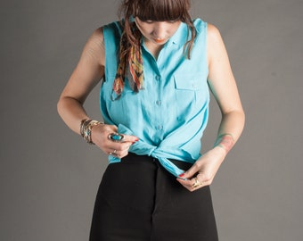 Electric Blue Silk Button Down Blouse