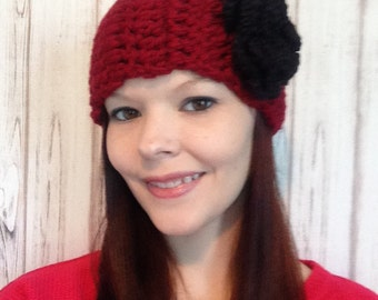 Womens Red Crochet Ear Warmer with Black Flower, Winter Headband, Chunky Headband, Crochet Ear Warmer, Flower Headband