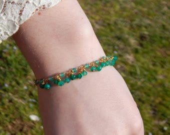 Green Onyx Rondelle Gold Filled Handmade Beaded Chain Bracelet with Gold Plated Green Onyx Charms, One of a Kind, OOAK