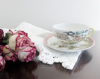 Pretty Pastels Porcelain Cup And Saucer Hand Painted Japan Bamboo Asian Floral Design Fancy Teacup Decorative Display Pretend Tea Party Cup