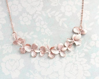 Rose Gold Orchid Necklace Floral Bib Pink Gold Bridal Jewelry, Bridesmaids Gift,Flower Pendant, Nickel Free, Wedding, Mother, Sister, Wife
