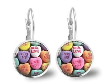 Valentine Earrings Candy Hearts Tile Earrings Valentine Jewelry Holiday Jewelry Silver Jewelry Tile Jewelry