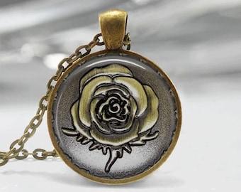 Glass Tile Necklace Rose Necklace Glass Tile Jewelry Flower Necklace Rose Jewlery Flower Jewelry Brass Jewelry Brass Necklace Bronze Rose