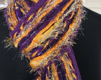LSU Tigers Inspired Skinny Scrappy Scarf - Plum and Gold - Handmade