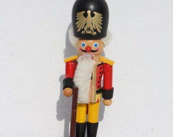 "Vintage Wooden Nutcracker Soldier Toy Soldier Steinbach German West Germany Miniature Mini 5 1/2"" Christmas Holiday Tree Trimming Decor"