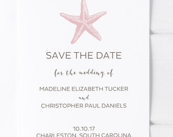 Beach Wedding Save the Date, Coastal Wedding, Tropical Wedding Save the Date, Starfish Wedding, Destination Wedding Save the Date