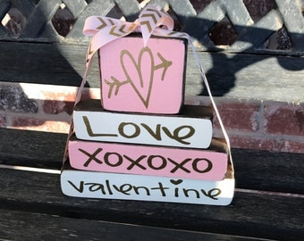 """Valentine's """"MINI"""" stacker--Love XOXOXO Valentine"""
