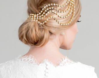 Ripple Headpiece, Bridal Veil Alternative, pearl, silver crystal gold cream, modern unique 1930s chignon vintage comb fascinator 1920s 201 2