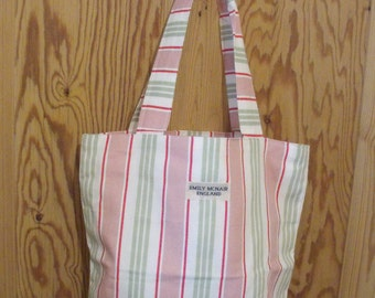 Pink, Green and White Candy Stripe Large Tote Market Shopper Beach Bag Cotton Canvas Ready to Ship