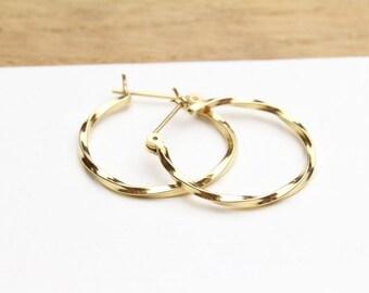 Vintage 14k Yellow Gold Huggie Hoop Earrings Genuine 14k Gold Twisted Hoop Earrings