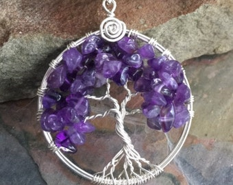 Amethyst Necklace, Amethyst Tree of Life Pendant Necklace,Wire Wrapped February Birthstone Tree of life Necklace,Amethyst Tree  life Pendant