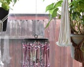 french style purple metal hanging candleholder crystal chandelier / mobile