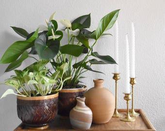 nemadji clay pottery vase / brown blue