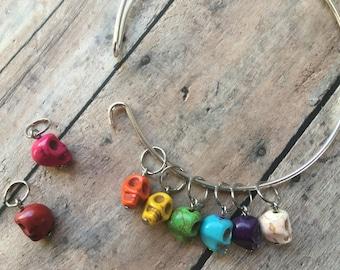 Stitch Marker Bracelet - Dia de Los Muertos Skulls