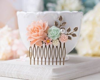 Blush Pink Mint Wedding Hair Comb, Bridal Hair Comb, Antiqued Gold Leaf Branch Floral Country Chic Wedding Hair Accessory, Bridesmaid Gift