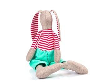 Easter bunny doll , fabric Doll , stuffed rabbit , rabbit plush toy , toddler gift , rag doll toy , handmade doll , boy doll , Nursery Decor
