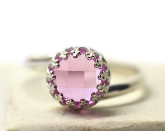 8mm Pink Sapphire Ring, Sterling Silver Crown Bezel Set Gemstone, Women's Lab Created Sapphire Cocktail Jewelry