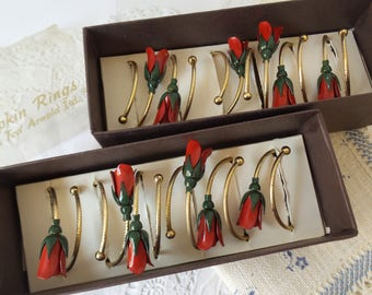 Vintage Rose and Gold Napkin Rings Set of 12 by Ted Arnold