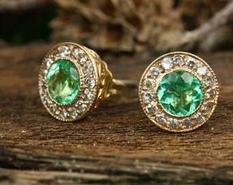 1.55tcw Emerald & Diamond Stud Earrings 14k, May Birthstone Halo Studs, Emerald Diamond Stud Earrings, Emerald Stud Earrings, May Gift